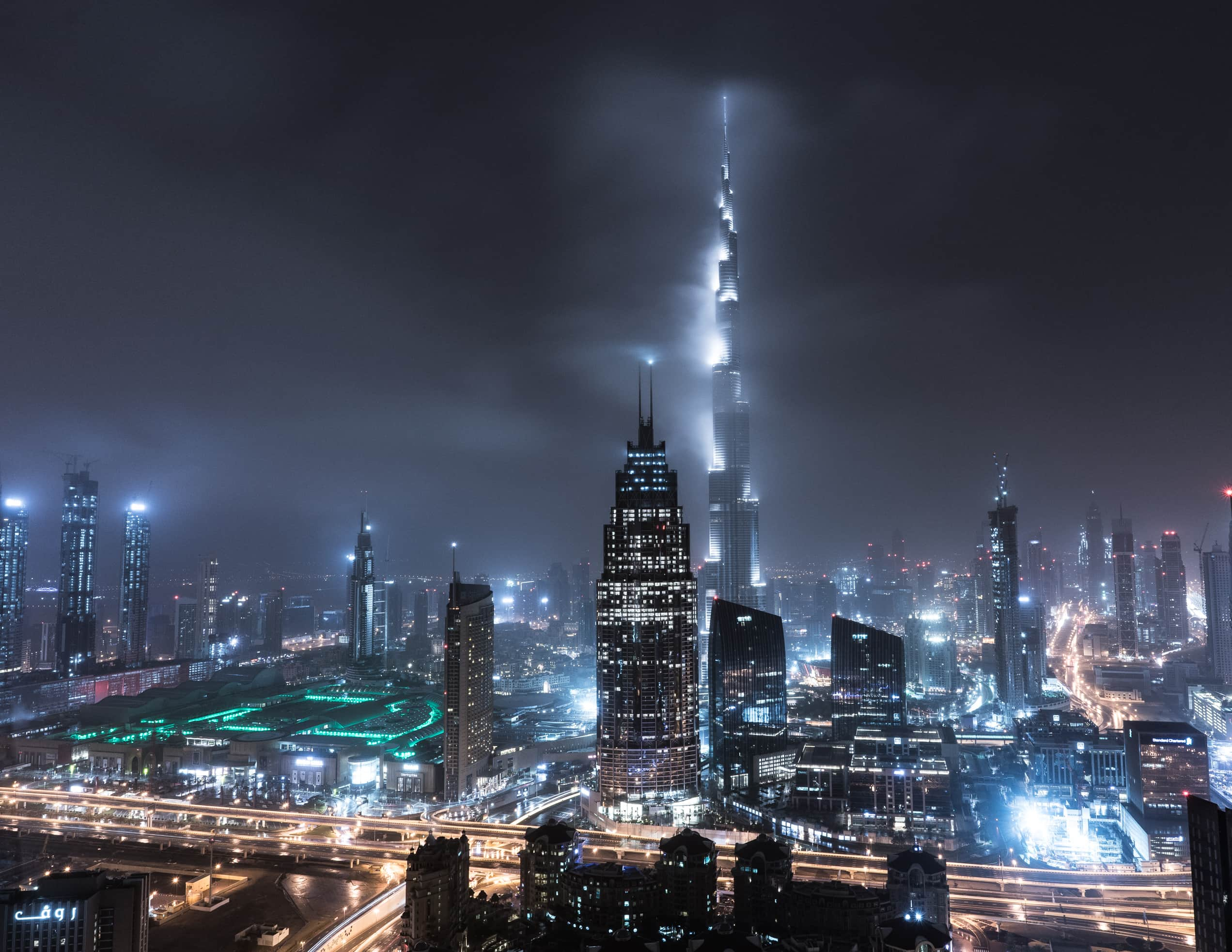 Burj Khalifa shrouded in storm clouds